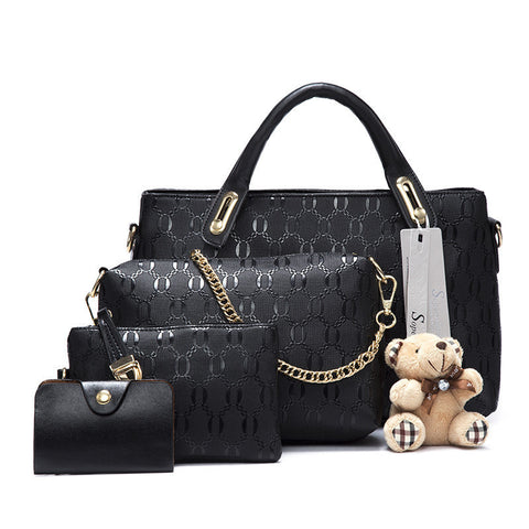 Soperwillton Famous Brand Women Bag Top-Handle Bags 2016 Fashion Women Messenger Bags Handbag Set PU Leather Composite Bag #150 - Dollar Bargains - 1