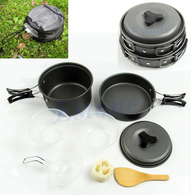 8pcs/set Outdoor Camping Hiking Cookware Backpacking Cooking Picnic Bowl Pot Pan Set-Dollar Bargains Online Shopping Australia