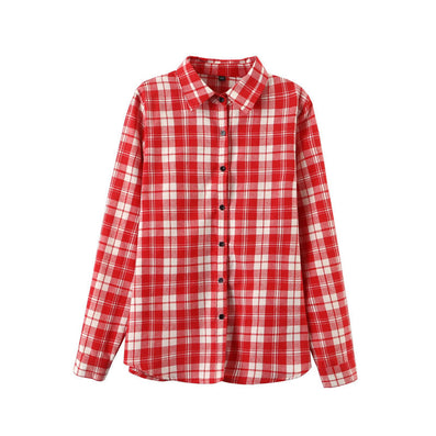 Sexy Autumn Fashion Women Blouses Casual Plaid Cotton Blousas Female Long Shirt Long Sleeve Plus Size Women Clothing BE66-Dollar Bargains Online Shopping Australia
