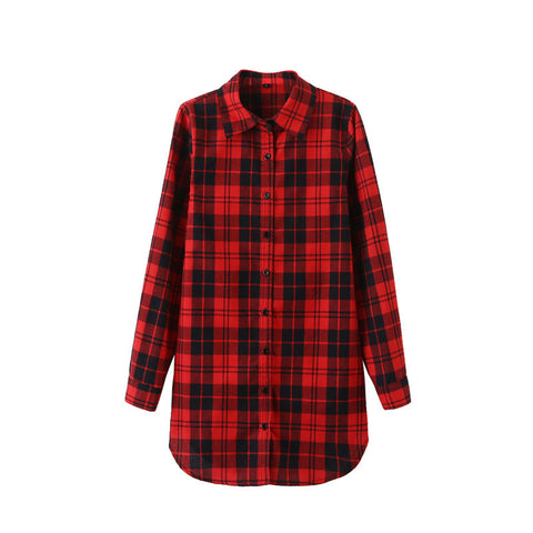 2016 Sexy Autumn Fashion Women Blouses Casual Plaid Cotton Blousas Female Long Shirt Long Sleeve Plus Size Women Clothing BE66 - Dollar Bargains - 4