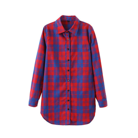 2016 Sexy Autumn Fashion Women Blouses Casual Plaid Cotton Blousas Female Long Shirt Long Sleeve Plus Size Women Clothing BE66 - Dollar Bargains - 8