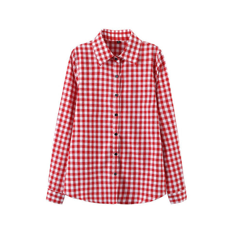 2016 Sexy Autumn Fashion Women Blouses Casual Plaid Cotton Blousas Female Long Shirt Long Sleeve Plus Size Women Clothing BE66 - Dollar Bargains - 10