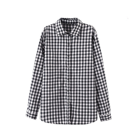 2016 Sexy Autumn Fashion Women Blouses Casual Plaid Cotton Blousas Female Long Shirt Long Sleeve Plus Size Women Clothing BE66 - Dollar Bargains - 6