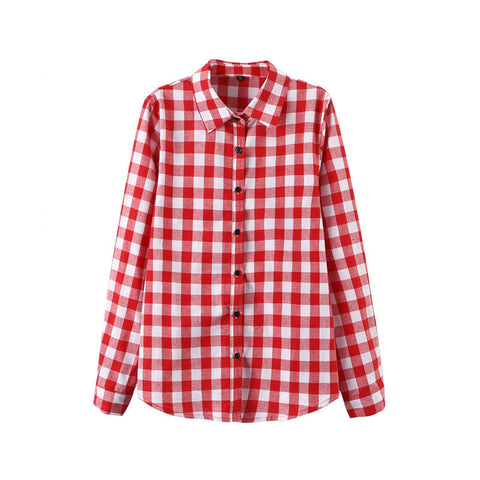 2016 Sexy Autumn Fashion Women Blouses Casual Plaid Cotton Blousas Female Long Shirt Long Sleeve Plus Size Women Clothing BE66 - Dollar Bargains - 7