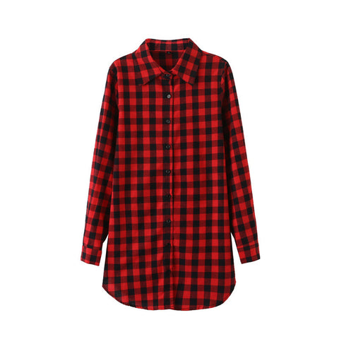 2016 Sexy Autumn Fashion Women Blouses Casual Plaid Cotton Blousas Female Long Shirt Long Sleeve Plus Size Women Clothing BE66 - Dollar Bargains - 9