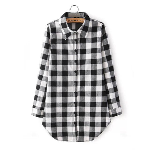 2016 Sexy Autumn Fashion Women Blouses Casual Plaid Cotton Blousas Female Long Shirt Long Sleeve Plus Size Women Clothing BE66 - Dollar Bargains - 2