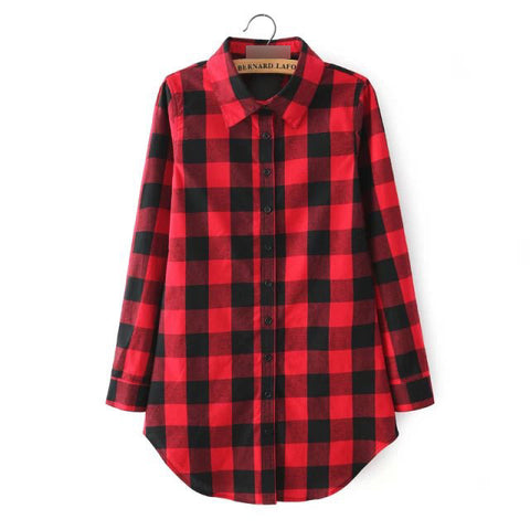 2016 Sexy Autumn Fashion Women Blouses Casual Plaid Cotton Blousas Female Long Shirt Long Sleeve Plus Size Women Clothing BE66 - Dollar Bargains - 5