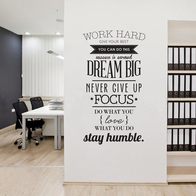 Wall Decals Quotes Work Hard Vinyl Wall Sticker Letras Decorativas Office Home Decoration Wall Art Wall Stickers Size 100x56cm-Dollar Bargains Online Shopping Australia