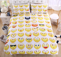 Emoji Bedding Set Interesting and Fashion Duvet Cover for Young People New Year Bed Sheets 3Pcs Twin Full Queen Size-Dollar Bargains Online Shopping Australia