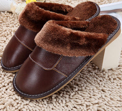 6 Colors New Genuine Leather Home Slippers High Quality Women Men Slippers Plush Warm Indoor Shoes Men Women Size 35-44-Dollar Bargains Online Shopping Australia