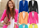 Fashion Jacket Blazer Women Suit Foldable Long Sleeves Lapel Coat Lined With Striped Single Button Vogue Blazers XL-Dollar Bargains Online Shopping Australia