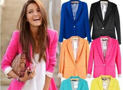 Hot Sale! Fashion Jacket Blazer Women Suit Foldable Long Sleeves Lapel Coat Lined With Striped Single Button Vogue Blazers XL - Dollar Bargains - 1