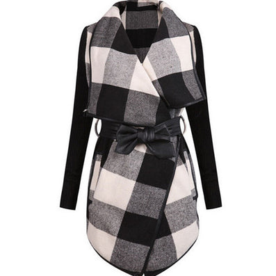 2016 Fashion Outerwears Women Spring Design Brand Ladies Trench Coat Casual Splicing Black White Plaid Long Sleeve Belt Coat - Dollar Bargains - 2