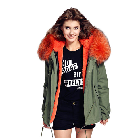 2016 women's army green Large raccoon fur collar hooded coat parkas  outwear 2 in 1 detachable lining winter jacket brand style - Dollar Bargains - 1