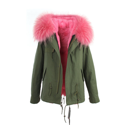 2016 women's army green Large raccoon fur collar hooded coat parkas  outwear 2 in 1 detachable lining winter jacket brand style - Dollar Bargains - 22