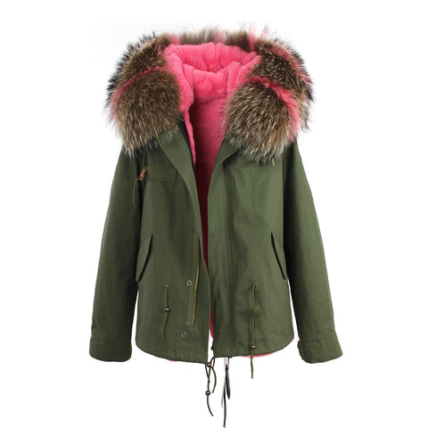 2016 women's army green Large raccoon fur collar hooded coat parkas  outwear 2 in 1 detachable lining winter jacket brand style - Dollar Bargains - 8