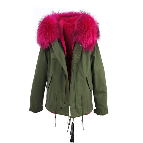2016 women's army green Large raccoon fur collar hooded coat parkas  outwear 2 in 1 detachable lining winter jacket brand style - Dollar Bargains - 14