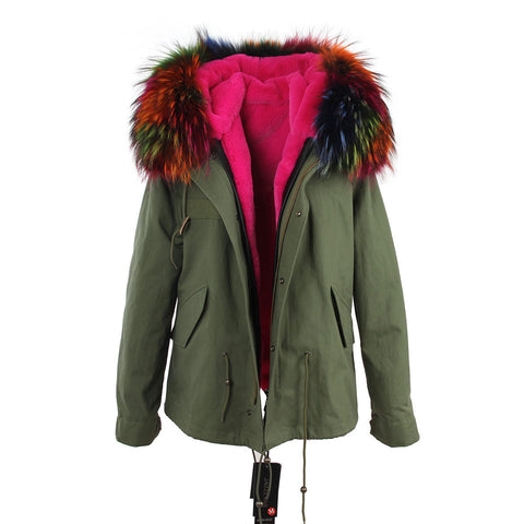 2016 women's army green Large raccoon fur collar hooded coat parkas  outwear 2 in 1 detachable lining winter jacket brand style - Dollar Bargains - 7