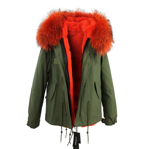 2016 women's army green Large raccoon fur collar hooded coat parkas  outwear 2 in 1 detachable lining winter jacket brand style - Dollar Bargains - 9