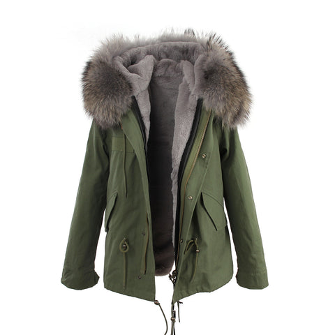 2016 women's army green Large raccoon fur collar hooded coat parkas  outwear 2 in 1 detachable lining winter jacket brand style - Dollar Bargains - 10
