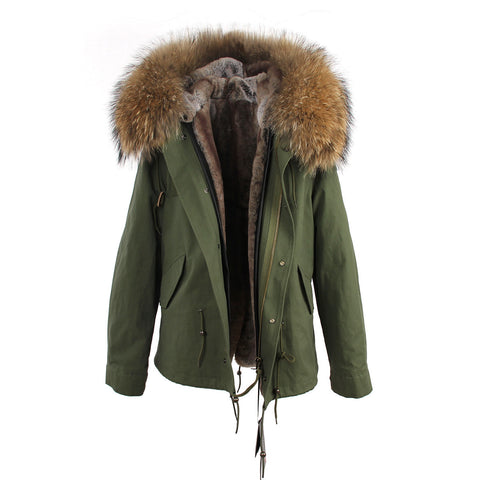 2016 women's army green Large raccoon fur collar hooded coat parkas  outwear 2 in 1 detachable lining winter jacket brand style - Dollar Bargains - 21
