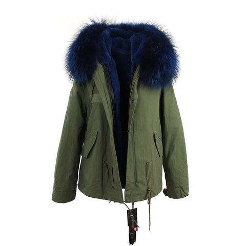 2016 women's army green Large raccoon fur collar hooded coat parkas  outwear 2 in 1 detachable lining winter jacket brand style - Dollar Bargains - 18