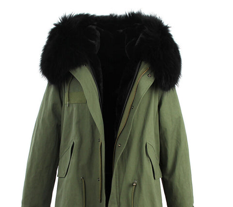 2016 women's army green Large raccoon fur collar hooded coat parkas  outwear 2 in 1 detachable lining winter jacket brand style - Dollar Bargains - 12
