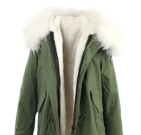 2016 women's army green Large raccoon fur collar hooded coat parkas  outwear 2 in 1 detachable lining winter jacket brand style - Dollar Bargains - 13