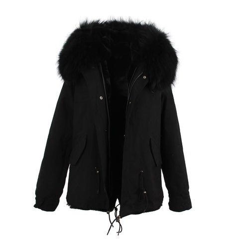 2016 women's army green Large raccoon fur collar hooded coat parkas  outwear 2 in 1 detachable lining winter jacket brand style - Dollar Bargains - 24