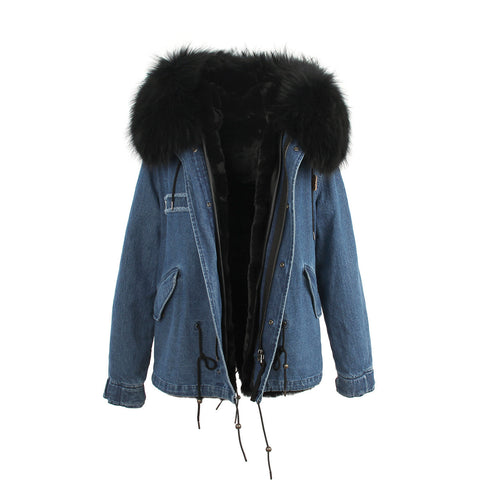 2016 women's army green Large raccoon fur collar hooded coat parkas  outwear 2 in 1 detachable lining winter jacket brand style - Dollar Bargains - 15