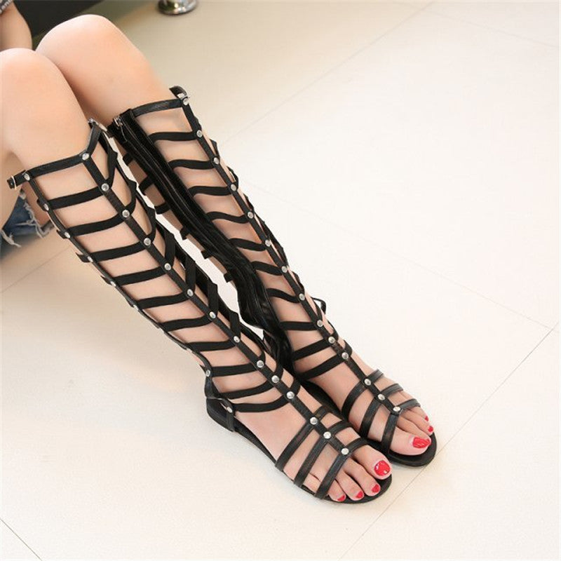 Knee High Flat Gladiator Sandals Women Summer Shoes Girls Thigh High Gladiator Roman Sandals Boots Shoes Woman Sandalias Mujer