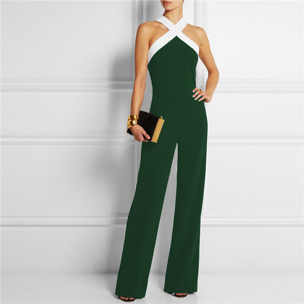 35888d95468 Womens Rompers Black Cross Neck Wide Leg Stitching Sling Halter Jumpsuit  Ladies Elegant Playsuits Plus Size