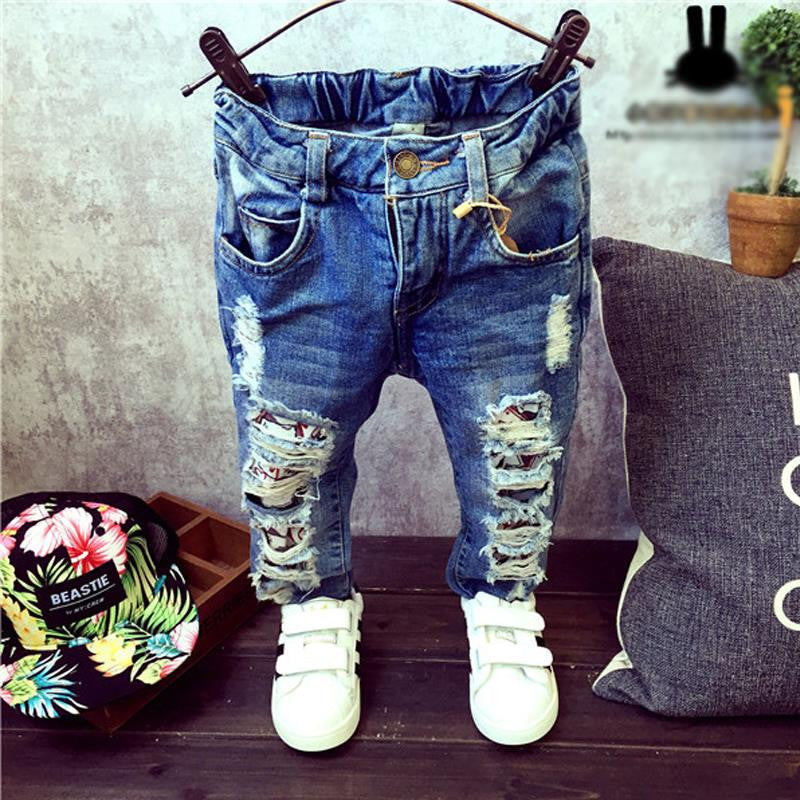 2TChildren Broken Hole Pants Trousers Baby Boys Girls Jeans Brand Fashion Autumn 2-7Yrs Kids Trousers Children Clothing ZJ04