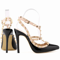 Fashion rivets shoes high shoes pointed toe hasp thin heels sandals shoes rivet pointed toe shoes female sandals 302-5PA-Dollar Bargains Online Shopping Australia