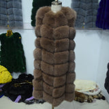 90CM Natural Real Fox Fur Vest New Winter Long Thick Women Genuine Fur Vest Jacket Pockets Real Fur Vest Coats for Women-Dollar Bargains Online Shopping Australia