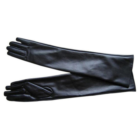 Women's Faux Leather Elbow Gloves Winter Long Gloves Warm Lined Finger Gloves New - Dollar Bargains - 2