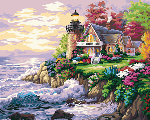 DIY Painting By Numbers Beach House Frameless Picture Painting Wall Digital Canvas Oil Painting Home Decor For Living Room G174-Dollar Bargains Online Shopping Australia