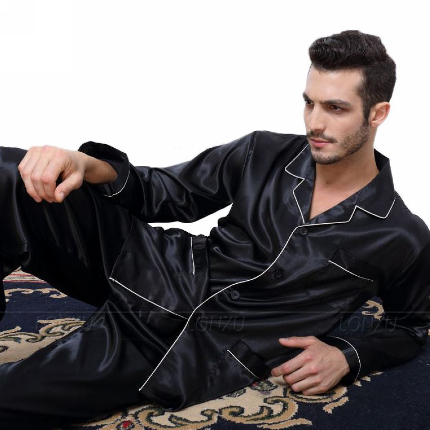 Black / LMens Silk Satin Pajamas Pyjamas Set Sleepwear Set Loungewear