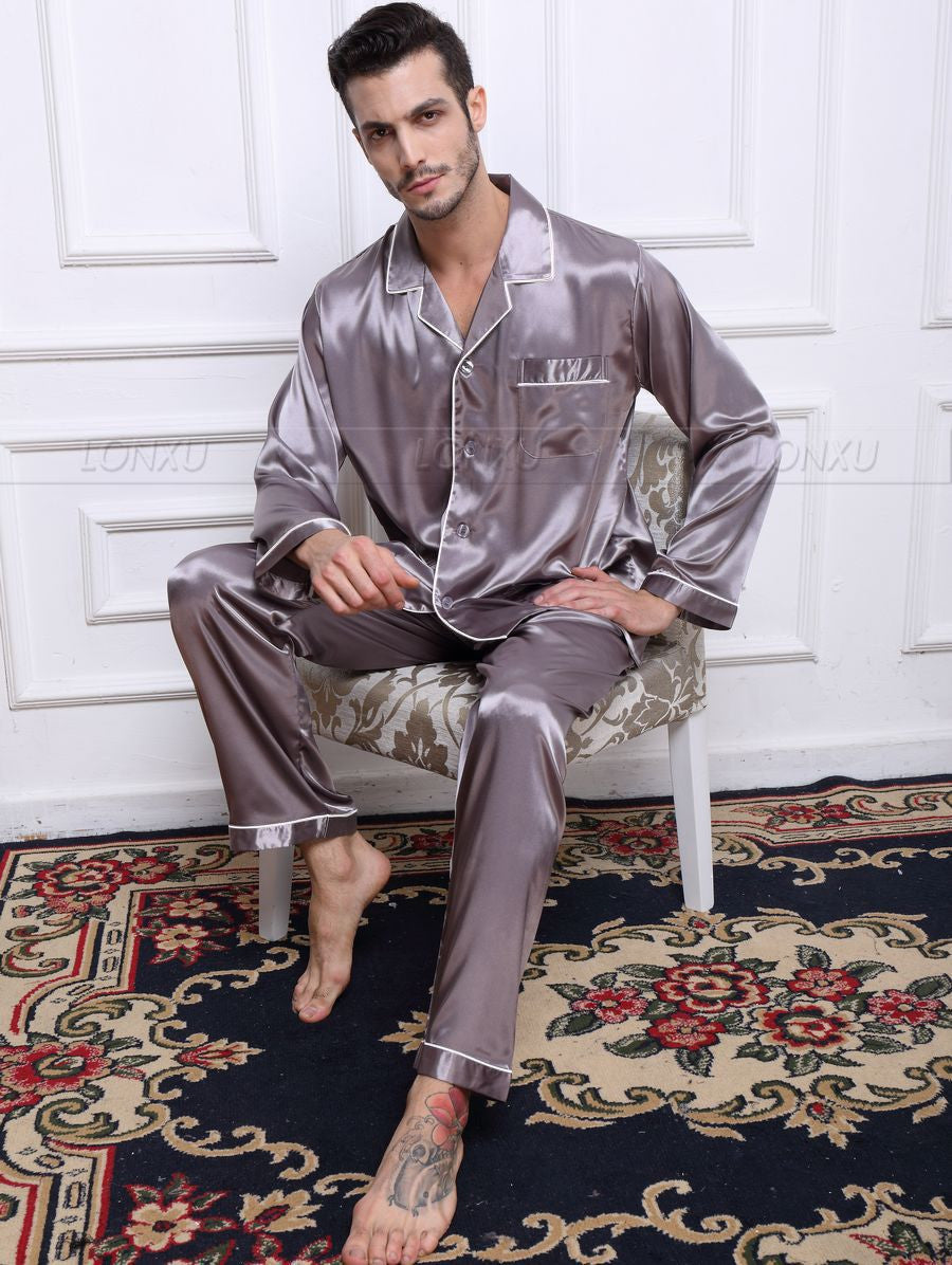 Gray / 4XLMens Silk Satin Pajamas Pyjamas Set Sleepwear Set Loungewear