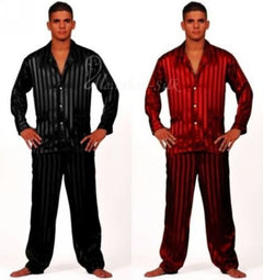Mens Silk Satin Pajamas Set Pajama Pyjamas Set Sleepwear Set Loungewear S,M,L,XL,2XL,3XL,4XL Plus Striped Black-Dollar Bargains Online Shopping Australia