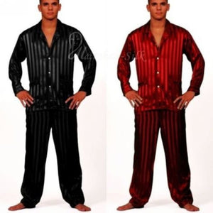 Mens Silk Satin Pajamas Set  Pajama Pyjamas  Set  Sleepwear Set  Loungewear S,M,L,XL,2XL,3XL,4XL  Plus  Striped Black - Dollar Bargains - 1