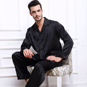 Mens Silk Satin Pajamas Set  Pajama Pyjamas  Set  Sleepwear Set  Loungewear S,M,L,XL,2XL,3XL,4XL  Plus  Striped Black - Dollar Bargains - 2