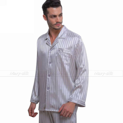 4855ff71c9aed Mens Silk Satin Pajamas Set Pajama Pyjamas Set Sleepwear Set Loungewear  S