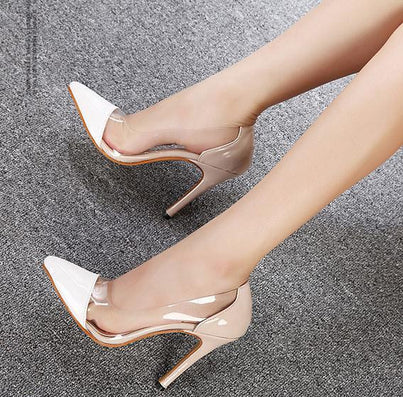 High Heels Sexy Brand Fashion See-Through Pointed Toe Women Shoes Thin Heels High-Heeled Shoes Women Pumps Height 11 CM 951-Dollar Bargains Online Shopping Australia