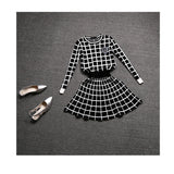 New Knit Long-sleeve Sweater Skirt Suits Women Sweet Beads Collar Knit Crochet grid Crop Top A-line Skirt Women's 2pcs Set-Dollar Bargains Online Shopping Australia
