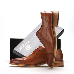 High Quality Men Oxfords Shoes British Style Carved Genuine Leather Shoe Brown Brogue Shoes Lace-Up Bullock Business Men's Flats-Dollar Bargains Online Shopping Australia