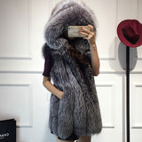 Spring new women hooded fur coat silver fox imitation fur vest plus size ladies fox fur coat-Dollar Bargains Online Shopping Australia