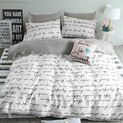 Top quality cotton Duvet covers set,Gray letters bedding set,Double single duvet covers Twin/Queen/King size,bedclothes #HM4514-Dollar Bargains Online Shopping Australia