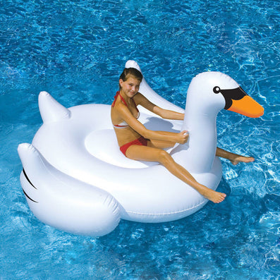 White Swan Summer Swimming Pool Lounge Float Inflatable Swan Giant Rideable Pool Water Lake Kid Toys-Dollar Bargains Online Shopping Australia