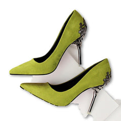 Fashion Sexy Women Pumps Carved Metal Scarpe Donna Thin High Heel Shoes Women Suede Shallow Mouth Pointed Toe Wedding Shoes-Dollar Bargains Online Shopping Australia